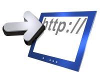 Pantalla de ordenador y flecha Imagen de archivo
