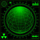 Pantalla de radar con el globo digital