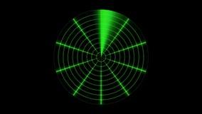 Pantalla de radar linear verde sobre negro