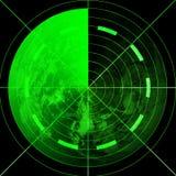 Pantalla de radar verde Imágenes de archivo libres de regalías
