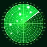 Pantalla de radar verde Fotografía de archivo libre de regalías