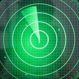 Pantalla de radar verde con los puntos fotos de archivo libres de regalías