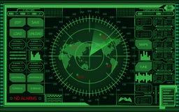 Pantalla de radar verde de Digitaces con el mapa del mundo, las blancos y la interfaz de usuario futurista en fondo oscuro stock de ilustración