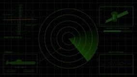 Pantalla de radar verde, interfaz de la navegación, interfaz submarino, 4K libre illustration
