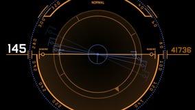 pantalla de visualización de la tecnología de la señal de GPS del radar 4k, navegación del ordenador de datos de la ciencia ficci almacen de metraje de vídeo