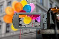 Pantalla de visualización del LCD en una alta cámara de televisión de la definición, niños del color de la película Fotografía de archivo libre de regalías