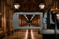 Pantalla de visualización del LCD en una alta cámara de televisión de la definición, perspectiva arquitectónica de la película Imagen de archivo