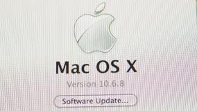 Pantalla de visualización de la actualización de Mac OS X almacen de video