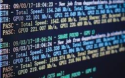 Pantalla de visualización de la explotación minera del cryptocurrency y de x28; Ethereum minero dual o foto de archivo