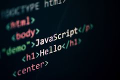 Pantalla de visualización programada de los componentes del editor de texto de Internet del código del Javascript del lenguaje de foto de archivo libre de regalías