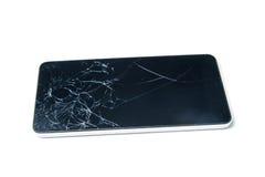 Pantalla de visualización quebrada del smartphone en el fondo blanco Fotografía de archivo libre de regalías