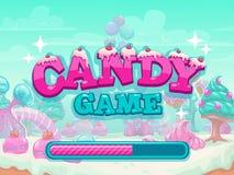Pantalla del cargamento del título del juego del caramelo ilustración del vector