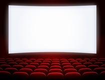 Pantalla del cine con los asientos foto de archivo
