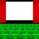 Pantalla del cine y asientos verdes Foto de archivo
