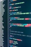 Pantalla del desarrollador con código programado coloreado de la página web foto de archivo libre de regalías