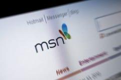 Pantalla del Internet de la paginación principal de MSN Imagen de archivo