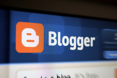 Pantalla del Internet de la paginación principal del Blogger Fotografía de archivo