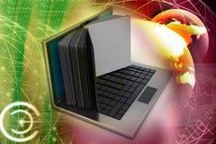 Pantalla del ordenador portátil como libro Imagen de archivo libre de regalías
