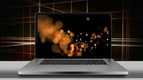Pantalla del ordenador portátil que exhibe luces de oro del bokeh
