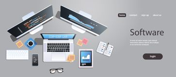 Pantalla del ordenador portátil del smartphone de la tableta del monitor del equipo de escritorio de la opinión de ángulo superio stock de ilustración