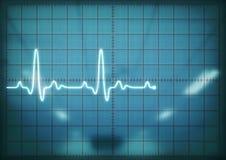 Pantalla del osciloscopio que muestra latido del corazón Fotos de archivo