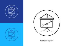 Pantalla del presentador con la línea icono de carta del vector del arte ilustración del vector