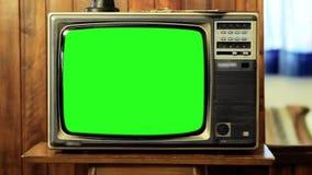 pantalla del verde de la televisión de los años 80 Enfoque adentro
