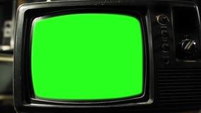 Pantalla del verde del vintage TV Estética de los años 80 Tono blanco y negro Enfoque hacia fuera