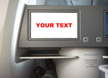 Pantalla del vuelo en asiento de pasajero Foto de archivo