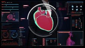 Pantalla digital conmovedora de la empresaria, corazón de exploración Sistema cardiovascular humano Tecnología médica libre illustration