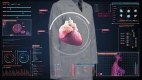 Pantalla digital conmovedora del doctor, corazón de exploración Sistema cardiovascular humano Tecnología médica almacen de metraje de vídeo
