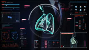 Pantalla digital conmovedora del hombre de negocios, pulmones humanos giratorios, diagnósticos pulmonares Imagen de la radiografí libre illustration