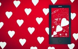 Pantalla elegante del teléfono que muestra el papel pintado del tema de la tarjeta del día de San Valentín Imágenes de archivo libres de regalías