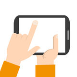 Pantalla en blanco conmovedora de la mano de la tableta Ilustración del EPS 10 stock de ilustración