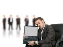 Pantalla en blanco de la computadora portátil fotos de archivo