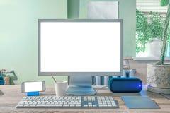 Pantalla en blanco del equipo de escritorio moderno Imágenes de archivo libres de regalías