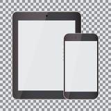 Pantalla en blanco Sistema de tableta y de smartphone realistas en un fondo transparente ilustración del vector