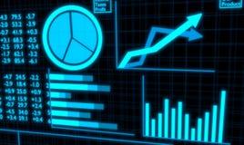 Pantalla financiera de las cartas y de las estadísticas que brilla intensamente azul clara Fotos de archivo