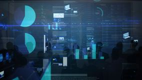 Pantalla futurista que proyecta datos estadísticos stock de ilustración