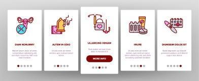 Pantalla móvil de la página del App de Onboarding del vector de la contracepción stock de ilustración