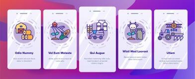 Pantalla móvil de la página del App de Onboarding del vector de la industria de la agronomía ilustración del vector