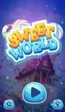 Pantalla móvil del cargamento de la bota del GUI del mundo dulce para los juegos video del web ilustración del vector