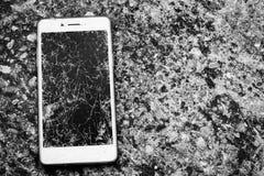 Pantalla móvil quebrada Fotografía de archivo