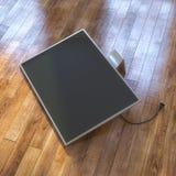 Pantalla moderna de la TV en el piso laminado stock de ilustración