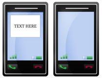 Pantalla negra en blanco del teléfono móvil Fotos de archivo libres de regalías