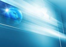 Pantalla plana grande de la TV con el fondo azul del tema del globo de la tierra 3d Imagen de archivo