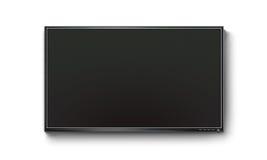 Pantalla plana negra de la TV, mofa del plasma para arriba en la pared Imagenes de archivo
