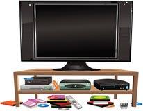 Pantalla plana TV y gabinete Stock de ilustración