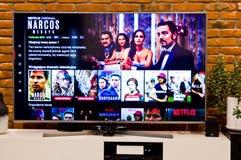 Pantalla polaca de la televisión de Netflix con la opción popular de la serie fotografía de archivo libre de regalías