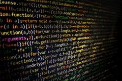 Pantalla programada del código del desarrollador de software Ordenador Fotos de archivo